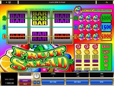 Play slots at Cabaret Club: Cabaret Club featuring the Video Slots Fruit Salad with a maximum payout of $25,000