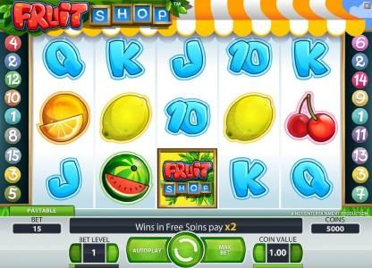 Llama Casino featuring the Video Slots Fruit Shop with a maximum payout of $40,000