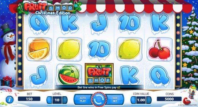 Orientxpress featuring the Video Slots Fruit Shop Christmas Edition with a maximum payout of $80,000
