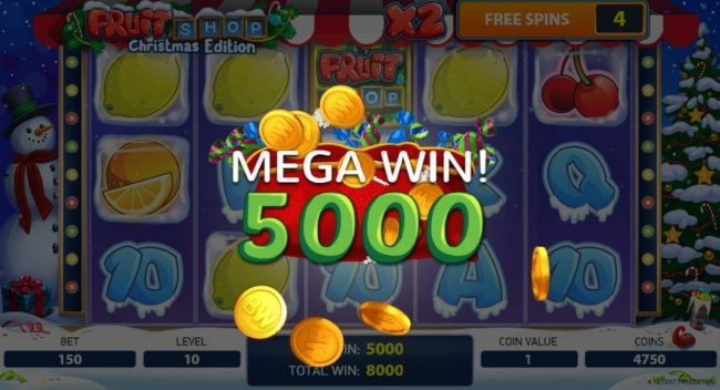 Vegas Winner featuring the Video Slots Fruit Shop Christmas Edition with a maximum payout of $80,000
