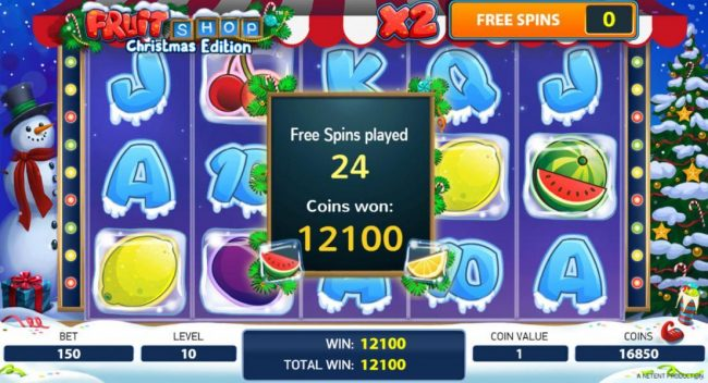 VipSpel featuring the Video Slots Fruit Shop Christmas Edition with a maximum payout of $80,000