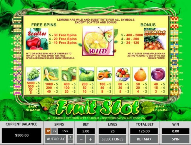 Rich Casino featuring the Video Slots Fruit Slot 25 Lines with a maximum payout of $25,000