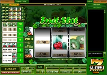 classic video slot game featuring three reels and five paylines