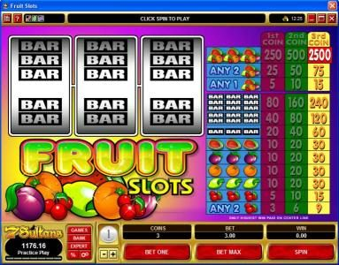 All Jackpots featuring the Video Slots Fruit Slots with a maximum payout of $37,500