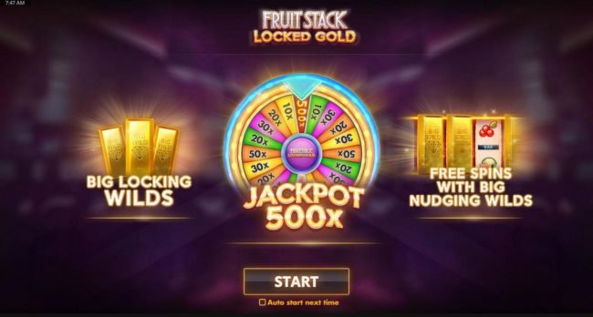 features include: Big Locking Wilds, a 500x Jackpot and Free Spins with Big Nudging Wilds.