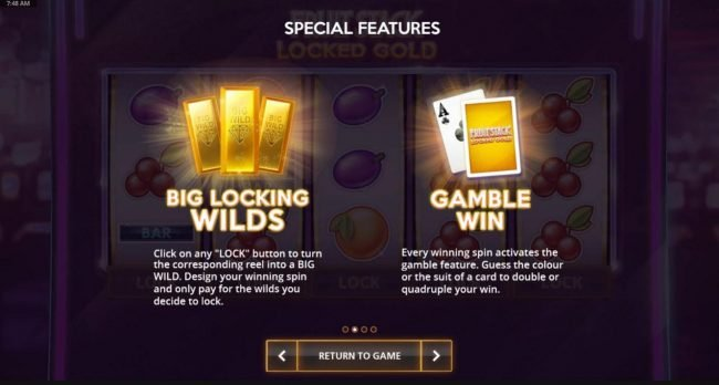 Click on any LOCK button to turn the corresponding reel into a Big Wild. Every winning spin activates the Gamble Feature.