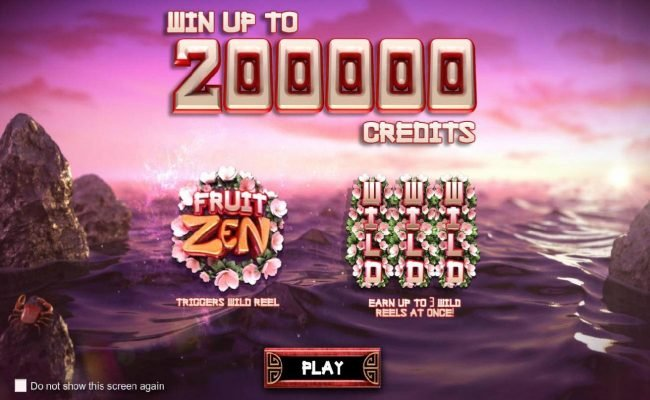 Fruit Zen :: Win Up To 200000 credits! Fruit Zen game logo triggers wild reel. Earn up to 3 wild reels at once!