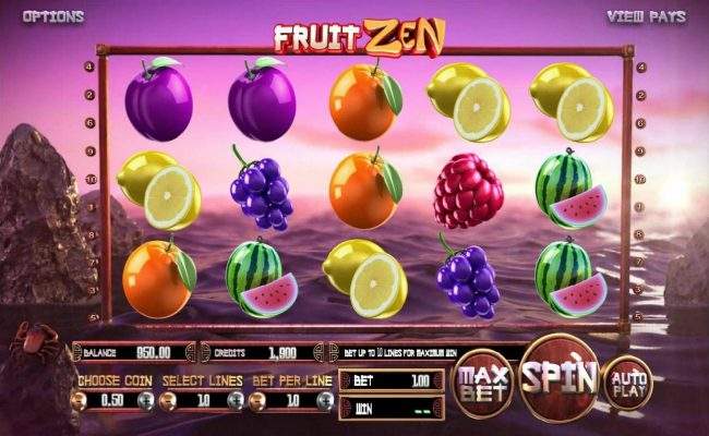 Real Bet featuring the Video Slots Fruit Zen with a maximum payout of $2,000,000
