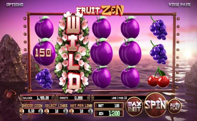 Fruit Zen :: Expanded wild on reel 2 triggers multiple winning paylines leading to a 1200 credit big win!
