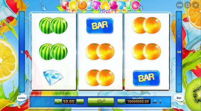 A fruit themed main game board featuring three reels and 5 paylines.
