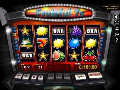 Slotland featuring the Video Slots Fruitful 7s with a maximum payout of $250