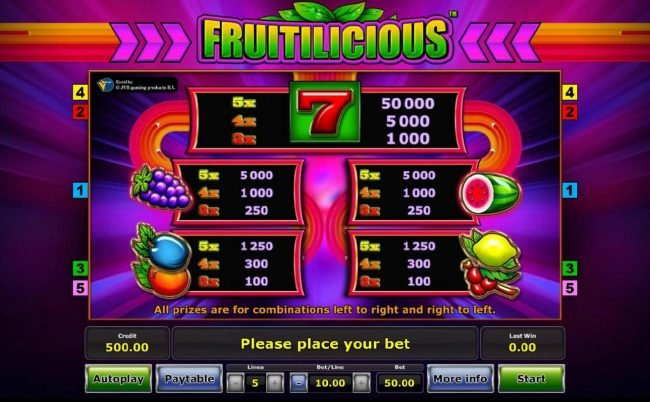 Slot game symbols paytable - All prizes are for combinations left to right and right to left.