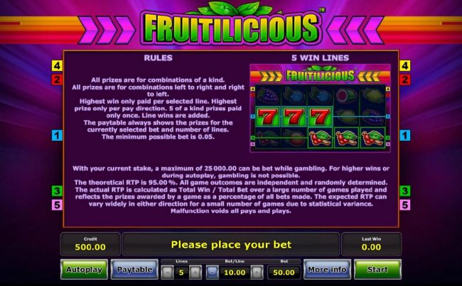 Genting featuring the Video Slots Fruitilicious with a maximum payout of $50,000