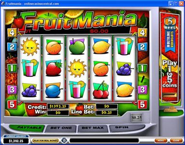 AdamEve featuring the video-Slots Fruit Mania with a maximum payout of Jackpot