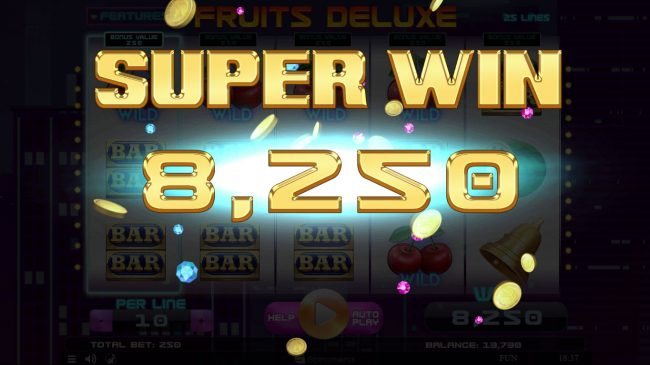 888 Tiger featuring the Video Slots Fruits Deluxe with a maximum payout of $15,000
