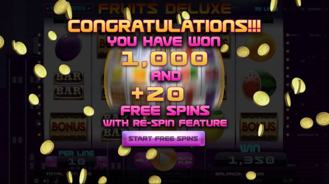 Play slots at King Billy: King Billy featuring the Video Slots Fruits Deluxe with a maximum payout of $15,000