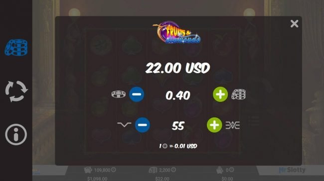 Oshi featuring the Video Slots Fruits & Diamonds with a maximum payout of $110,000