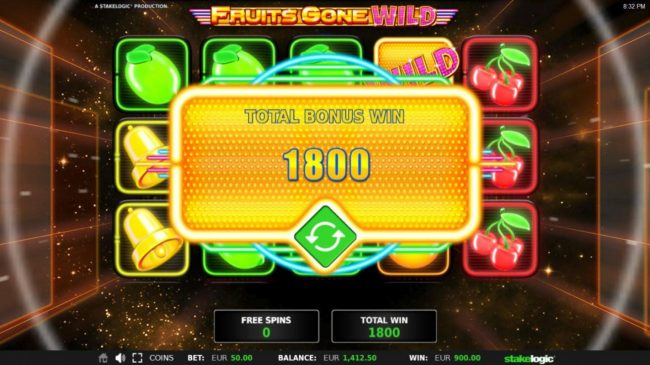 Total free spins payout 1800 coins