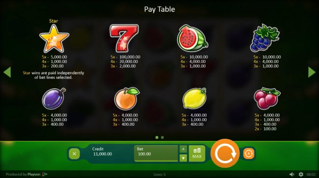 Play slots at Campeon: Campeon featuring the Video Slots Fruits 'n' Stars with a maximum payout of $100,000