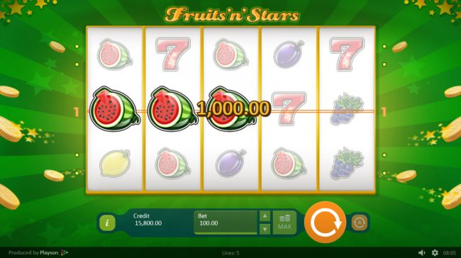 Africa Casino featuring the Video Slots Fruits 'n' Stars with a maximum payout of $100,000
