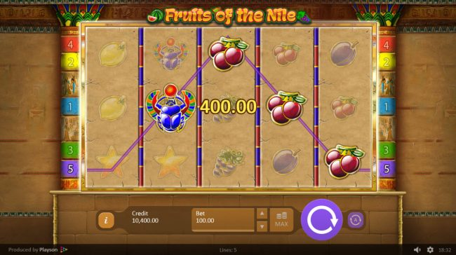 LaFiesta featuring the Video Slots Fruits of the Nile with a maximum payout of $100,000