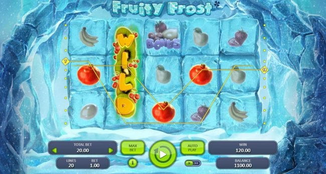 Jellybean Casino featuring the Video Slots Fruity Frost with a maximum payout of $7,500