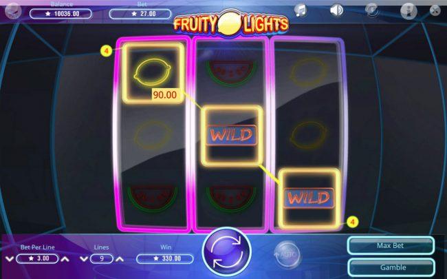 Fruity Lights :: Multiple winning paylines triggers a big win