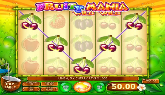ReelTastic featuring the Video Slots Fruity Mania with a maximum payout of $100,000