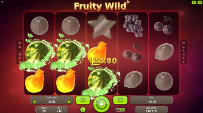 Vegas Crest featuring the Video Slots Fruity Wild with a maximum payout of $60,000