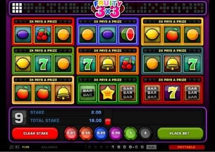 Cosmik featuring the Video Slots Fruity 3x3 with a maximum payout of $2,500