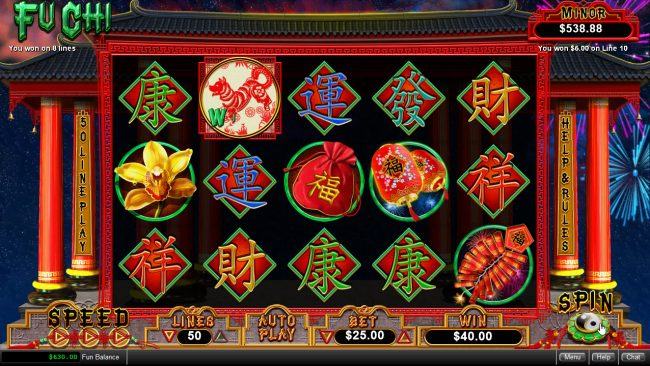 Cool Cat featuring the Video Slots Fu Chi with a maximum payout of $250,000