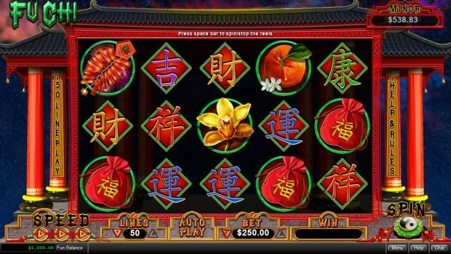 Play slots at Saturn: Saturn featuring the Video Slots Fu Chi with a maximum payout of $250,000