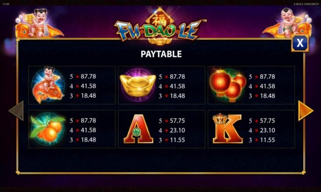 Fu Dao Le :: High value slot game symbols paytable