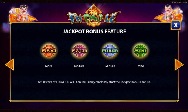 Fu Dao Le :: Jackpot Bonus Feature Rules