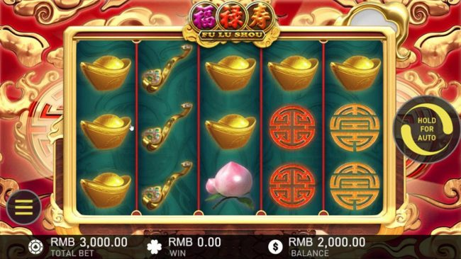 Fu Lu Shou :: Main game board featuring five reels and 20 paylines with a $37,500 max payout.