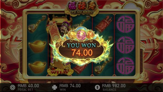 Fu Lu Shou :: A 74.00 payout awarded as a result of a respin.