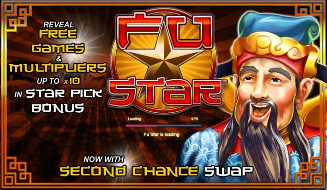 Fu Star :: Game features include: Free Games and Multipliers up to x10 in Star Pick Bonus and a Second Chance Swap