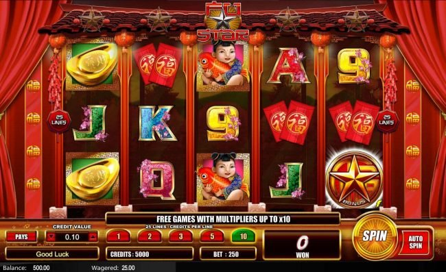 Fu Star :: Main game board featuring five reels and 25 paylines with a $5,000 max payout