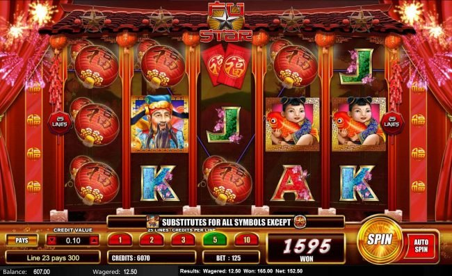 Fu Star :: Red Lantern symbols on multiple winning paylines triggers a 1595 coin jackpot.