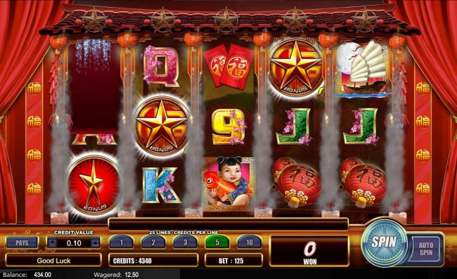 Fu Star :: Hold n Spin feature triggered when two star bonus symbols land on reels 1 and 2