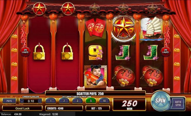 Fu Star :: The Hold n Spin feature will hold the first 2 reels and respin the remaining reels.