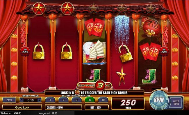 Fu Star :: Landing another star bonus symbol during the initial respins will locked that reel and respin the remaining reels 3 more times.