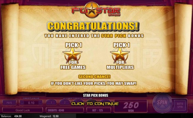 Fu Star :: You have entered the Star Pick Bonus - Pick 1 Star of Free Games and 1 Star for Multipliers.