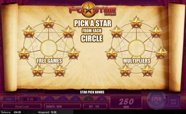 Fu Star :: Pick a star from each circle to determine the number of free games and multiplier to be played.