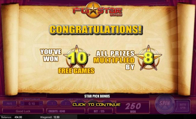 Fu Star :: 10 Free Games with a 8x multiplier have been awarded.