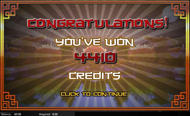 Fu Star :: The free games feature pays out a total of 4,410 credits fo an awesome jackpot win!