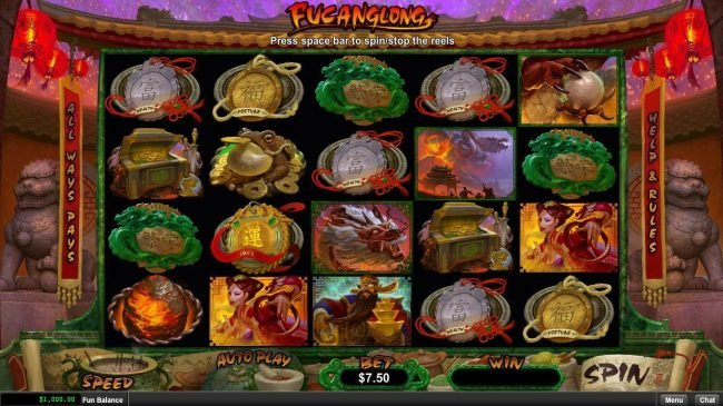 99 Slot Machines featuring the Video Slots Fucanglong with a maximum payout of $300,000