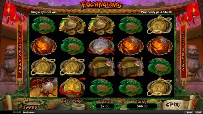 Diamond Reels featuring the Video Slots Fucanglong with a maximum payout of $300,000