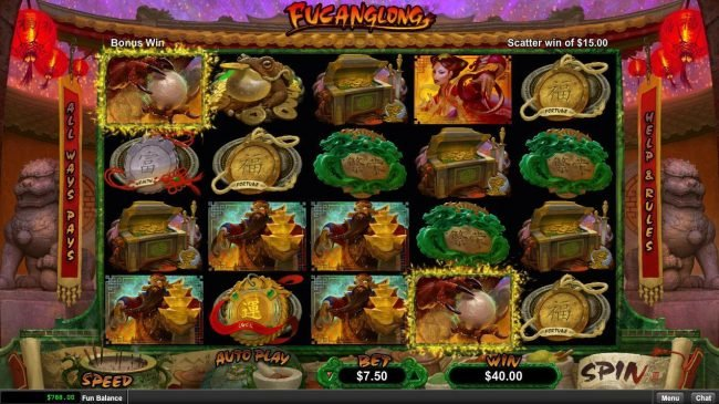 Ruby Slots featuring the Video Slots Fucanglong with a maximum payout of $300,000