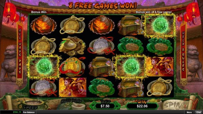 Prism featuring the Video Slots Fucanglong with a maximum payout of $300,000